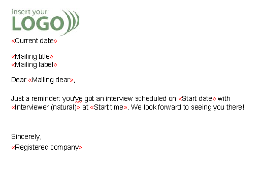 Interview reminder letter templates pronofoot35fo Image collections