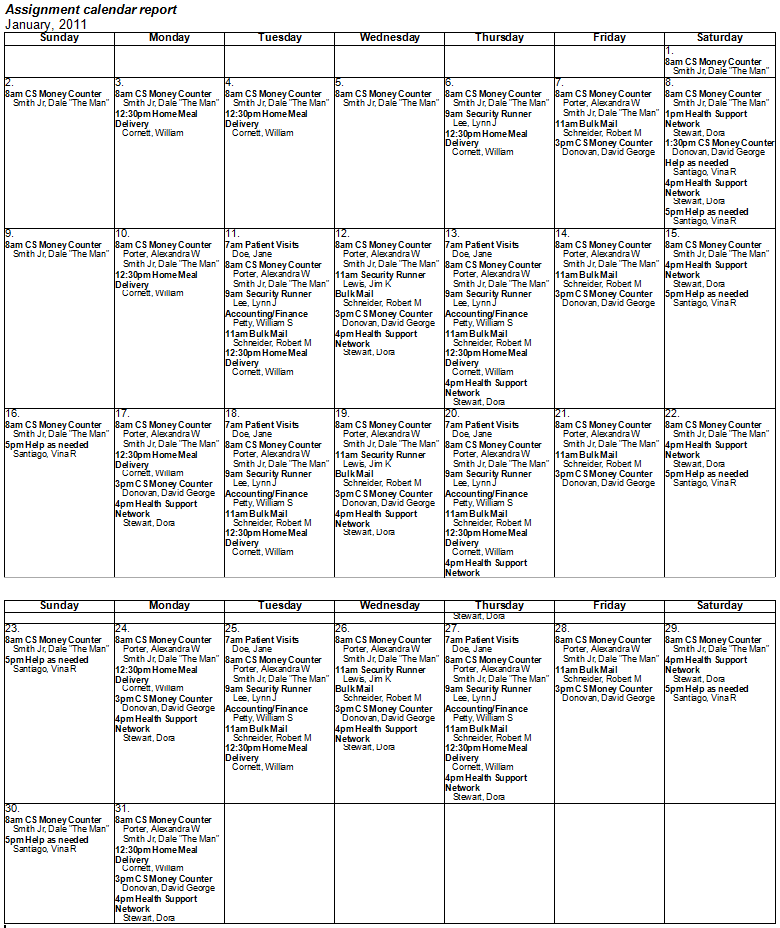 sample monthly assignment calendar rtf report