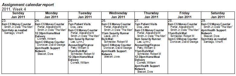 sample weekly assignment calendar rtf report